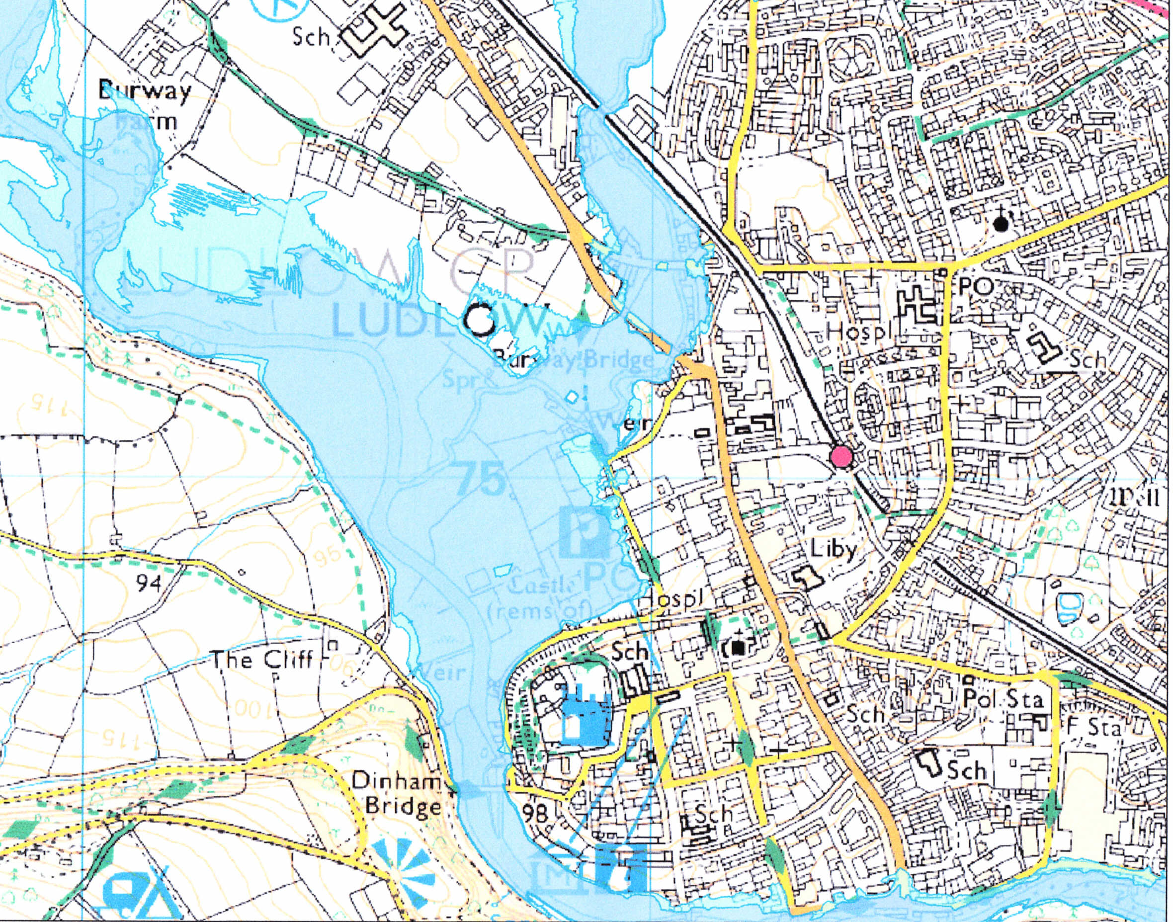 Worksheet. Friends of the Corve and Teme  Flood zone map of Ludlow